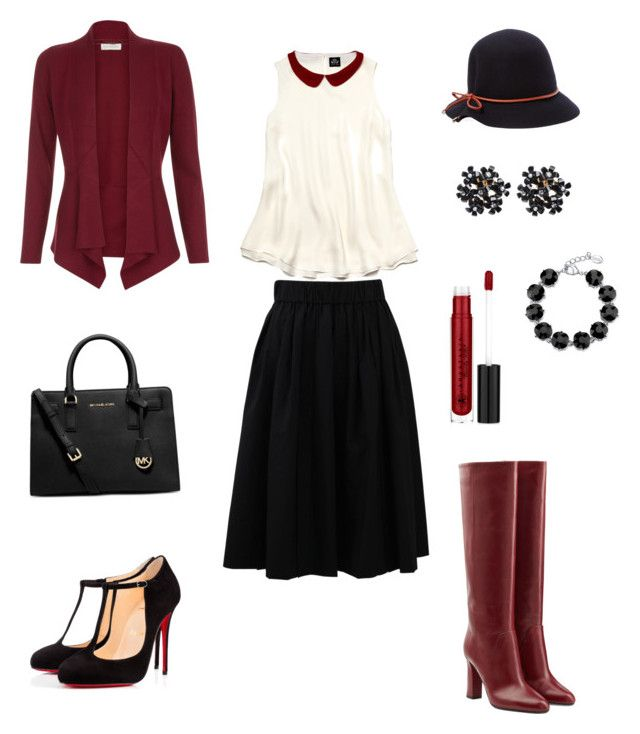 """""""Outfit del lunedi'"""" by chiaragaia on Polyvore featuring Brunello Cucinelli, Monsoon, Slater Zorn, Diane Von Furstenberg, Christian Louboutin, Anastasia Beverly Hills, Genie by Eugenia Kim, 2028 and Michael Kors"""
