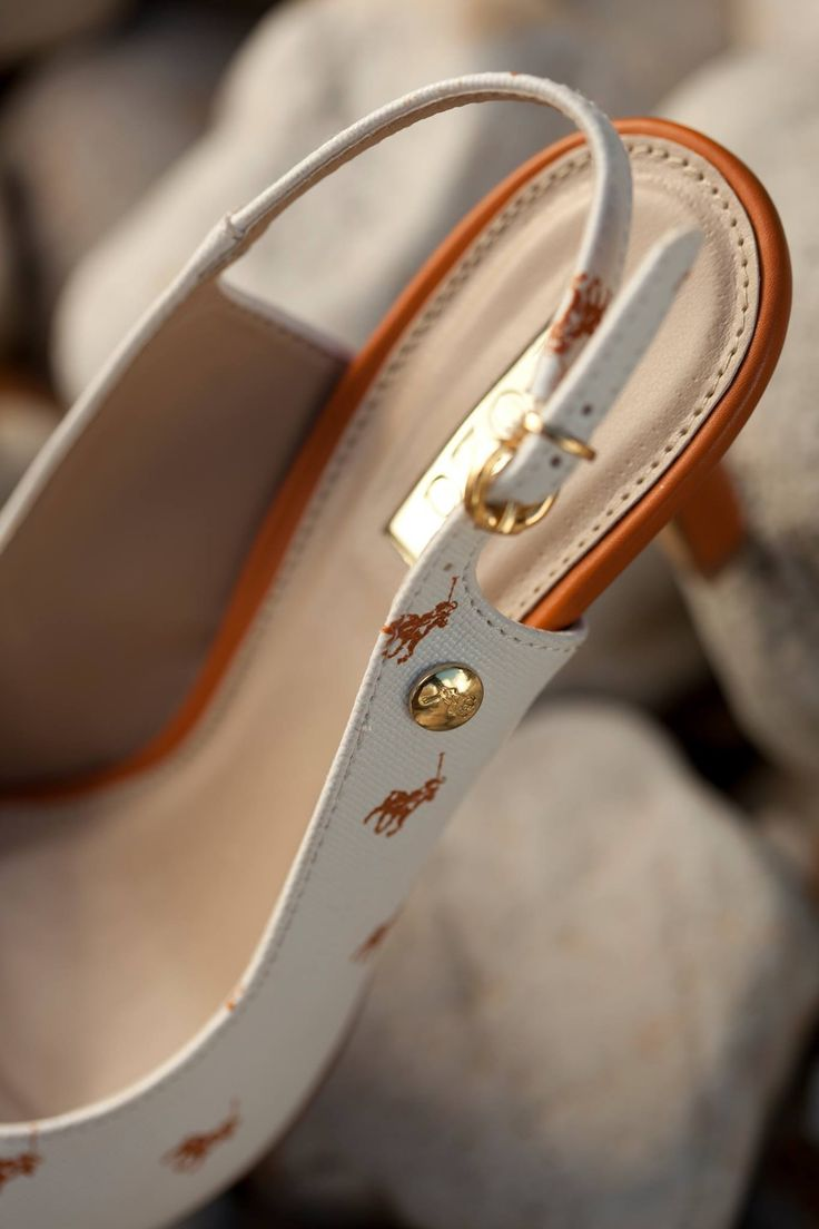 New to the Polo monogram collection, white sling back heels