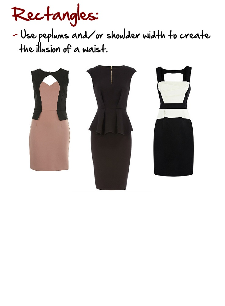 Rectangles: Women with little or no waists.  www.myprivatestylist.com