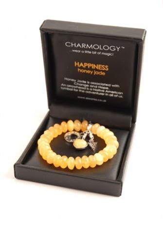 Charmology HAPPINESS, Honey Jade Gemstone Charm Bracelet.