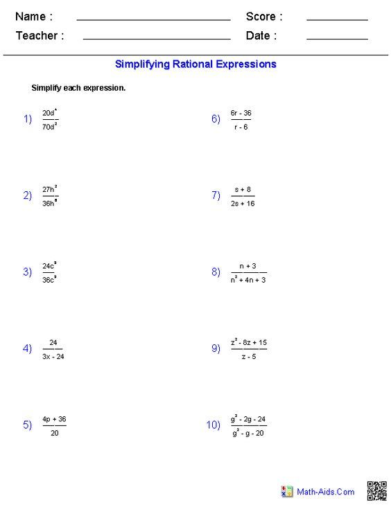 The 25+ best Simplifying rational expressions ideas on Pinterest - reference sheet examples