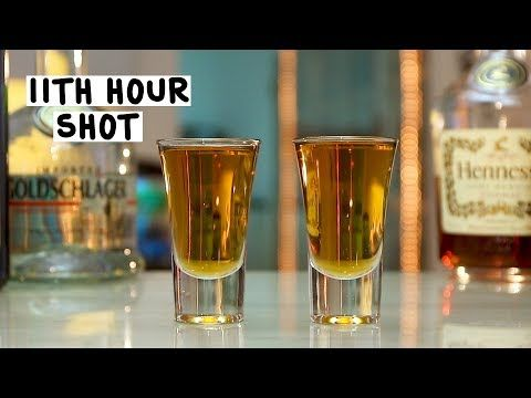 11TH HOUR SHOT Everclear Absinthe Bacardi 151 Jägermeister Tequila Vodka Gin Rum Whiskey Goldschläger Hennessy PREPARATION 1. Combine equal parts of each liquor into a shaker with ice. Shake and strain into a glass and shoot! DRINK RESPONSIBLY!