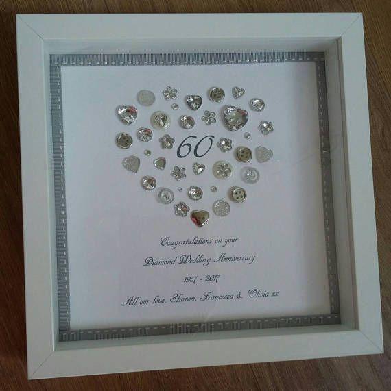 Personalised Heart Diamond 60th Anniversary Frame Keepsake Etsy Diamond Wedding Anniversary Gifts Anniversary Frame Diamond Wedding Anniversary Cards