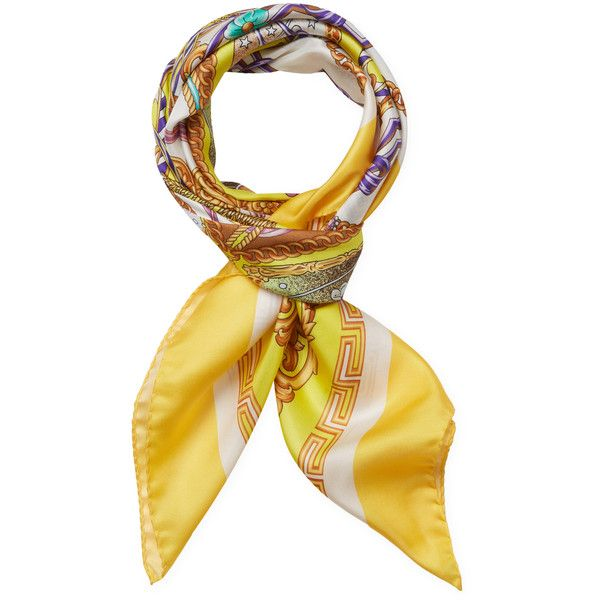 """Versace Women's Printed Silk Square Scarf, 35"""" x 35"""" - Yellow ($126) ❤ liked on Polyvore featuring accessories, scarves, yellow, silk scarves, patterned scarves, silk shawl, square silk scarves and yellow shawl"""