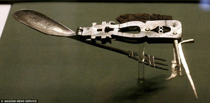 The oldest known multi-tool, precursor of Swiss Knife was made circa 1900 years ago. An intricately designed Roman implement, which dates back to 200AD, it is made from silver but has an iron blade. It features a spoon, fork as well as a retractable spike, spatula and small tooth-pick. The 3in x 6in (8cm x 15cm) knife was excavated from the Mediterranean area more than 20 years ago.