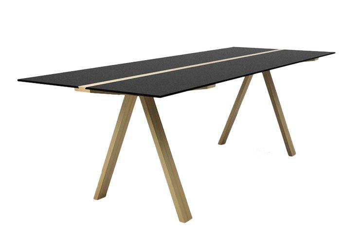 VALSECCHI 1918 table à cantilever TRAVERSO 2012 Collection (Noir - Massif de frêne et HPL) - MyAreaDesign.com