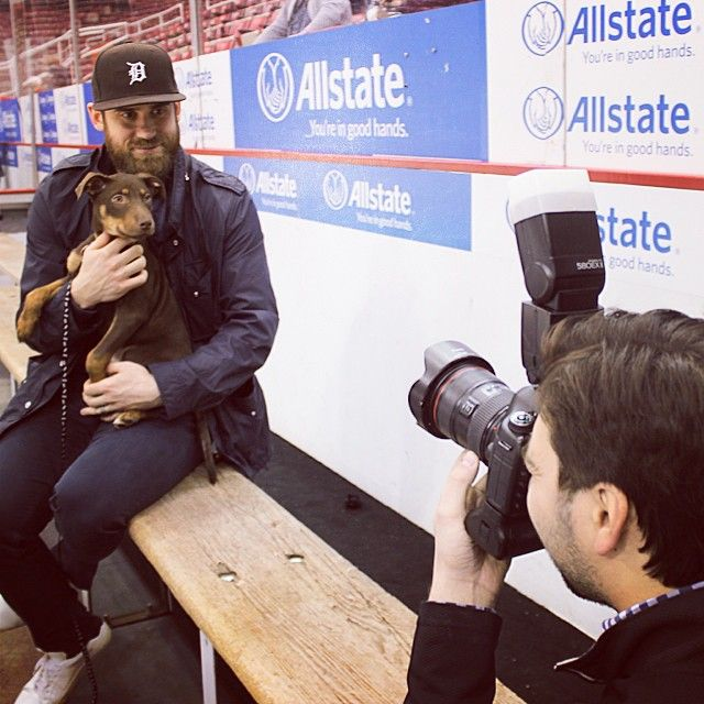 Detroit Red Wings: Henrik Zetterberg and Maverick, a puppy from the @michiganhumane