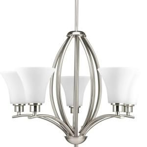 Progress Lighting Joy Collection 3 Light Brushed Nickel Chandelier With Etched Glass Shade