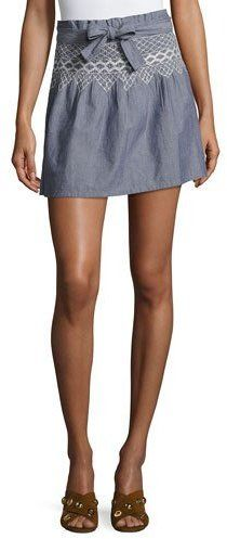Current/Elliott The Short Rancher Chambray Skirt, Indigo