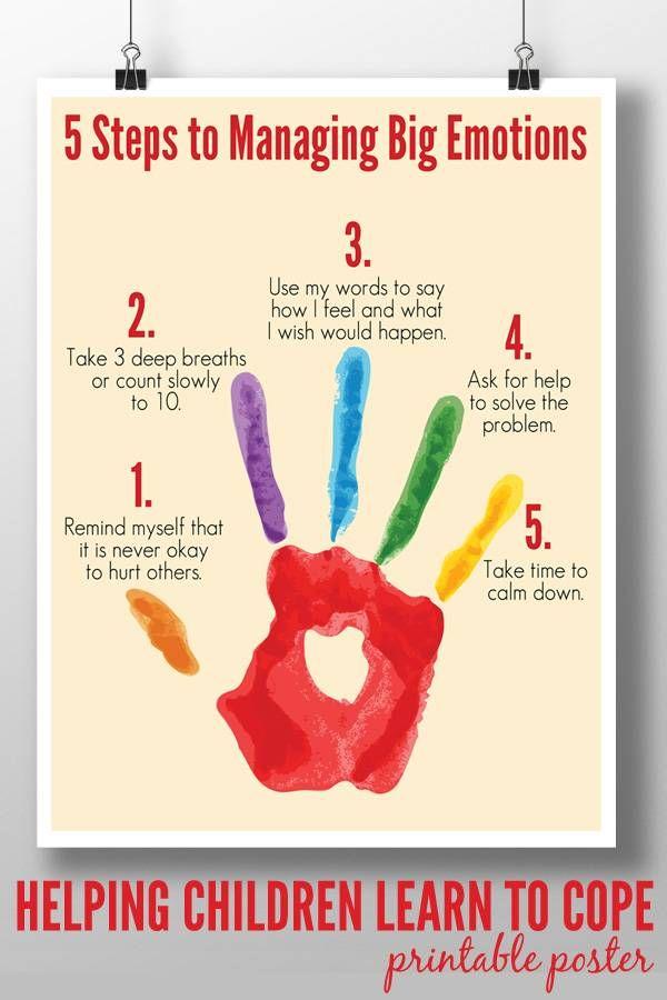 5 Steps to Managing Big Emotions Printable Poster