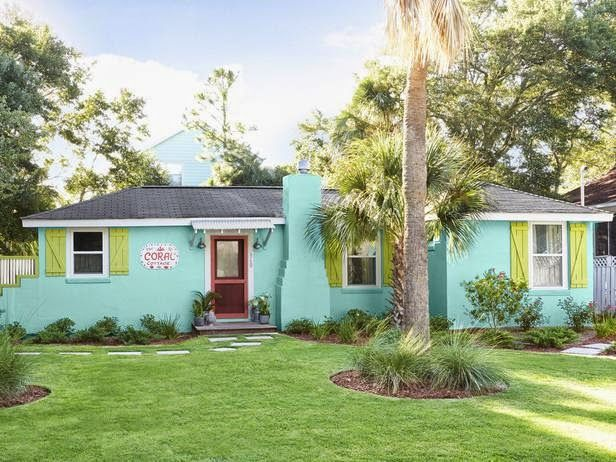 turquoise Tybee Island cottage designed by Jane Coslick