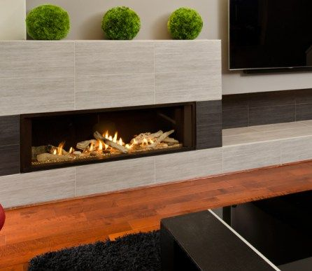 Valor L2 Linear Gas Fireplace Driftwood 1 inch Surround