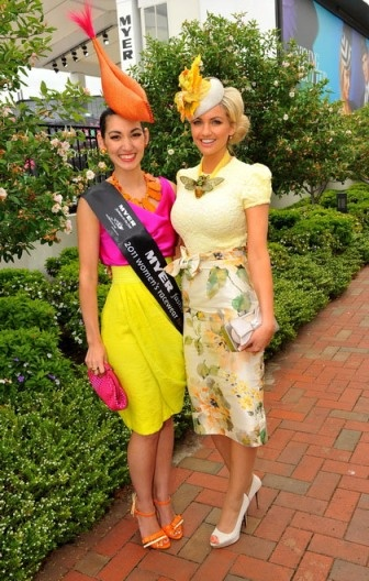 The Amazing Angela Menz winning FOTF in this wonderful color blocking outfit. Runner up aint to shabby either !! Love Racing Fashion!!