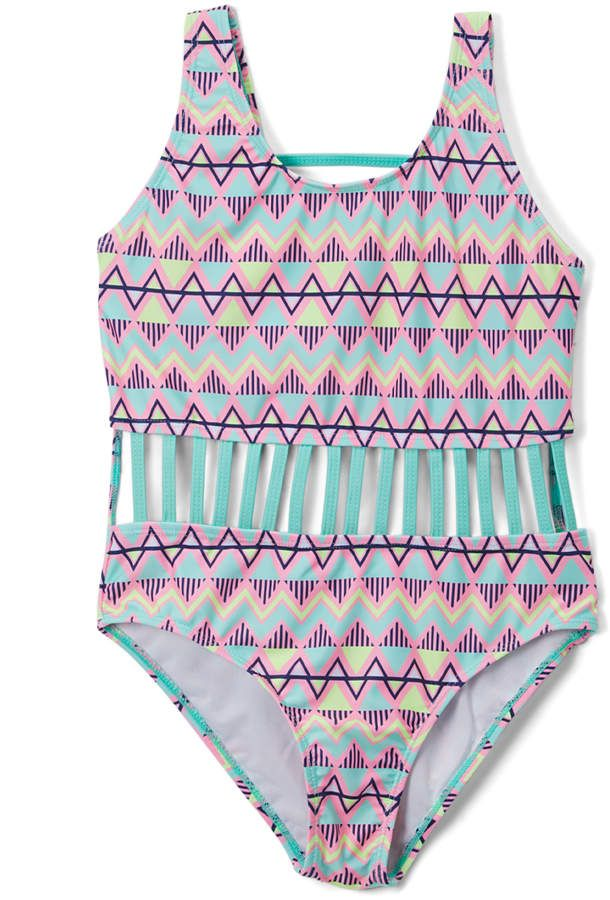 9d1f47a8a56 $8.99* Mint & Lavender Geometric Stripe Strap-Accent One-Piece - Girls from