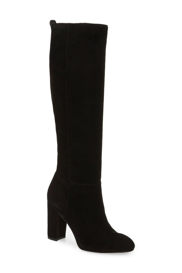 Onewus Women Knee-High Boots with Chunky Heel and Suede Material Women Boots with Large Size and 3-Colors Available