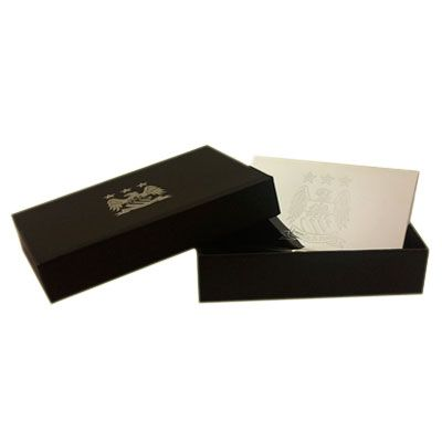 MANCHESTER CITY F.C. Embossed Crest Metal Business Card Holder. In Gift Box. Official Licensed Man City Gift
