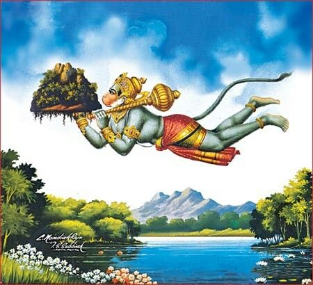 Hanuman bringing the mountain to Raam. One of my favorite stories when I was little.