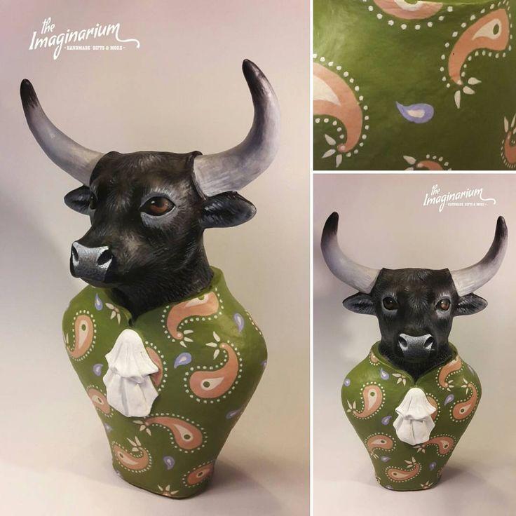 """25 """"Μου αρέσει!"""", 1 σχόλια - The Imaginarium (@theimaginariumkos) στο Instagram: """"""""Mr Bull"""" Handmade paper mache sculpture-custom-made order! #papermache #paperclay #sculpture…"""""""