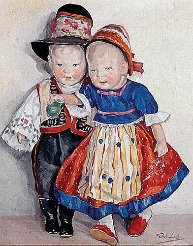 "Feher Lolly Hungarian (mid 20th century) TWO DOLLS IN COSTUME oil on canvas, framed signed: lower right H20"" W16"""