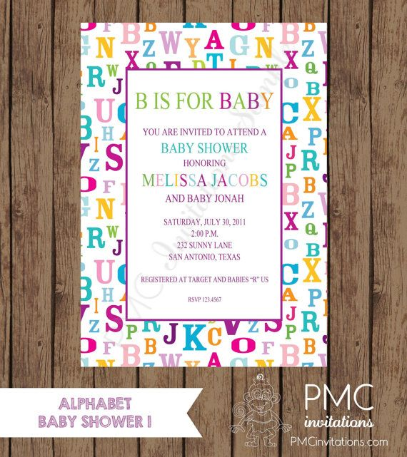 Custom Printed Alphabet Baby Shower Invitations - 1.00 each with envelope