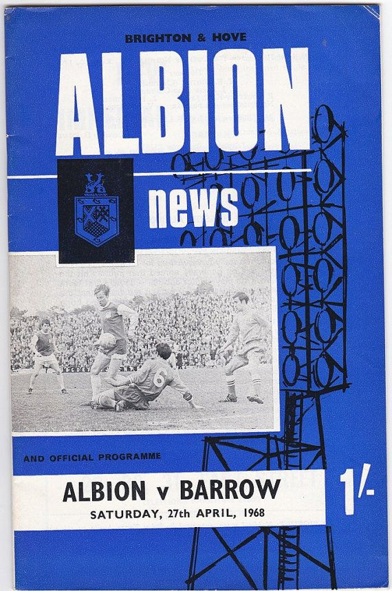 Vintage Football (soccer) Programme - Brighton and Hove Albion v Barrow, 1967/68 season #football #soccer #brighton