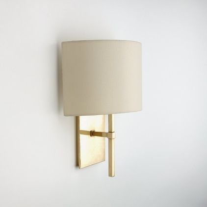Entry Or Living Room   Spence Wall Mounted Single Arm Sconce With Fabric  Half Shade   Modern   Wall Sconces   Waterworks