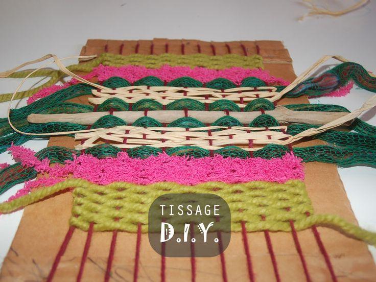 Tutoriel de tissage pour s'initier et fabriquer un métier à tisser en carton. DIY à faire avec les enfants par Kameleon Factory
