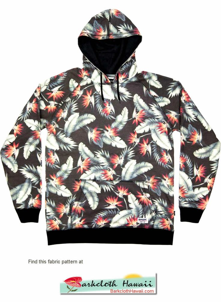 Love this hoodie. We have this pattern at BarkclothHawaii.com Click photo to see all our bird of paradise fabrics,
