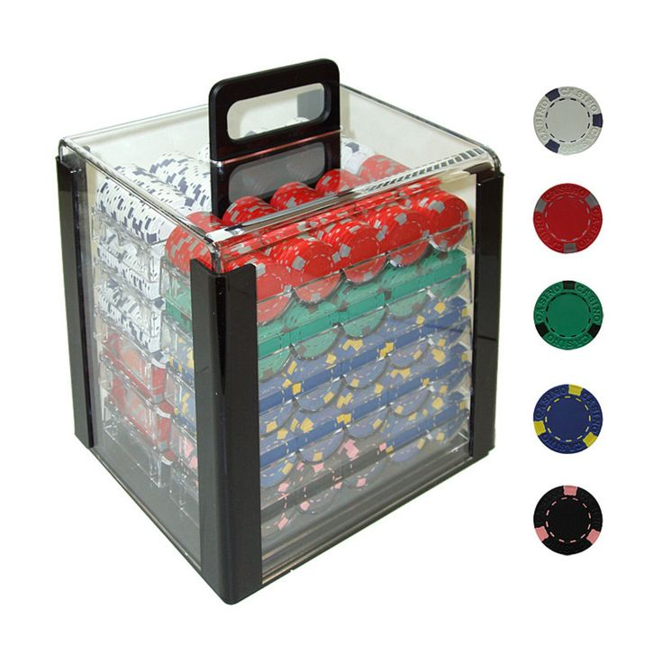 Trademark Poker 13g Pro Clay Casino Poker Set in Acrylic Carrier - 1000 Chips - 10-1500-1CAR