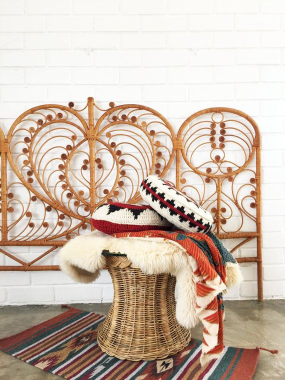 Vintage Rattan Wicker Peacock Headboard / King / by 6thAndDetroit