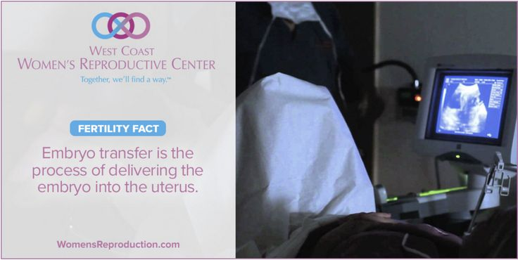 The embryo transfer (done during IVF) is similar to having a pap smear. The procedure does not require anesthesia, but the West Coast Women's Reproductive Center team suggests taking Motrin for relaxation of the uterus.