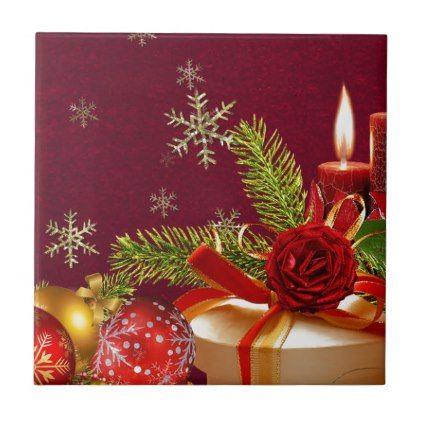 #Christmas Ceramic Tile - #xmas #christmas #christmastime #celebration #kids #children #family #parents #gift #gifts #present #presents