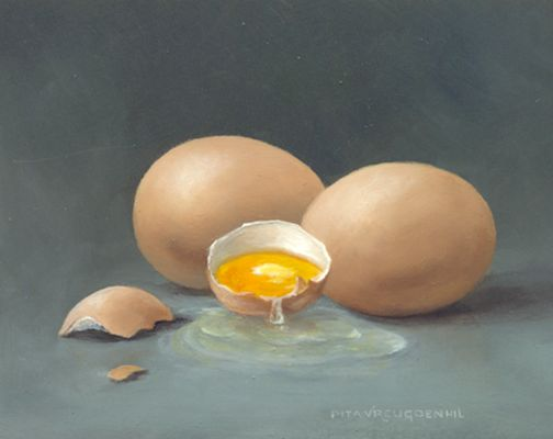 Stilleven met gebroken ei, 8 x 10 cm, olieverf op paneel