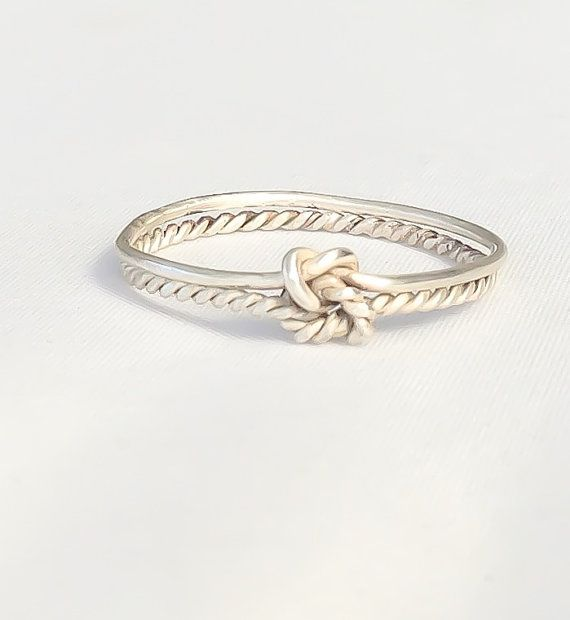 Double knot ring, double infinity knot, sterling silver love knot ring