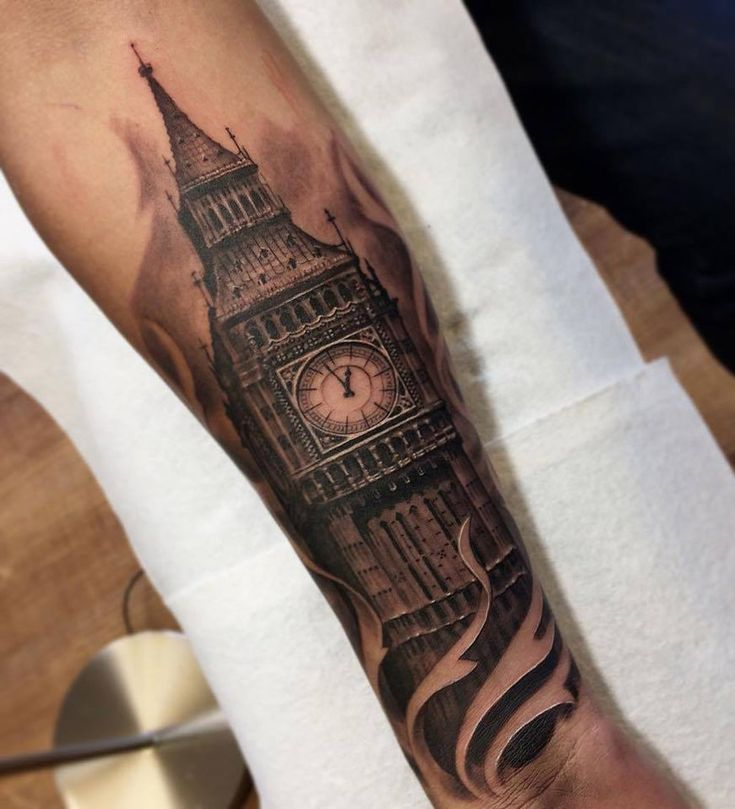 Big Ben http://tattooideas247.com/big-ben-forearm/