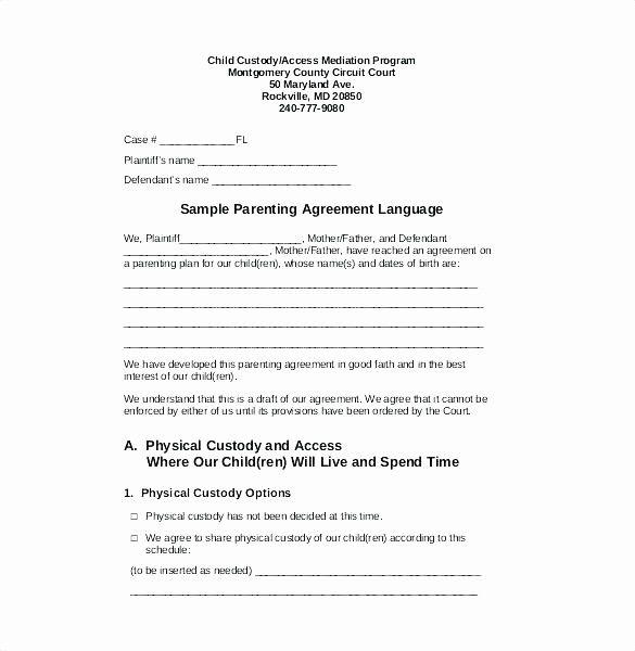 50 50 Custody Agreement Template Elegant Child Custody Agreement