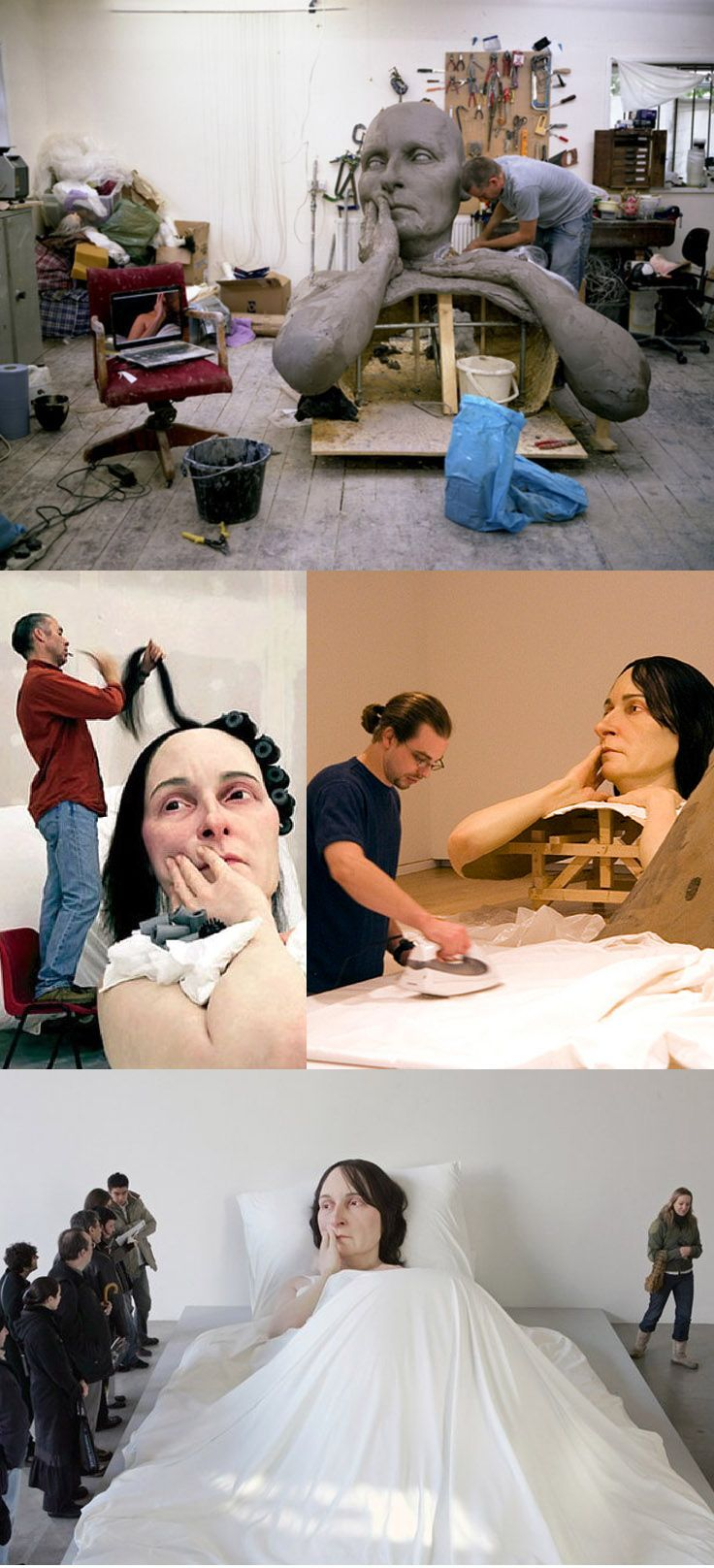 """Ron Mueck working on """"in bed"""""""