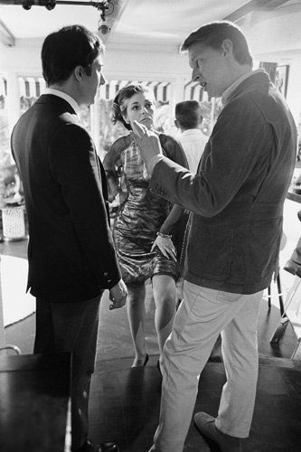 """Dustin Hoffman, Anne Bancroft and director Mike Nichols on the set of """"The Graduate""""."""