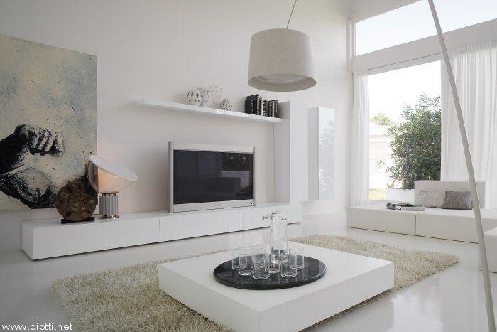 Essential Landscape mobile soggiorno pensili verticali laccato bianco lucido