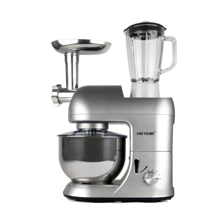CHEFTRONIC Stand Mixers SM-1086 120V/650W 5.3qt Bowl Multifunction Kitchen Electric Mixer Machine (Silver)