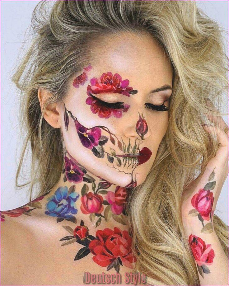 Halloween Schminke Deutsch.Tag Der Toten Schminke Ideen In Fotos Und Video Tutorials Makiyazh V Vide Cherepa Makiyazh Na Hellouin Maska Kalavera