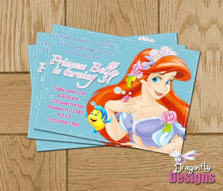 Best Convite De Aniversário Personalizado Images On Pinterest - Custom ariel birthday invitations