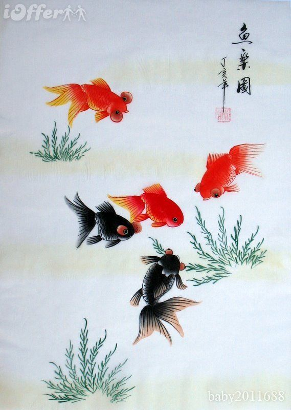drawings of koi fish | oriental-asian-art-chinese-silk-painting-koi-fish-carp-7cf0e