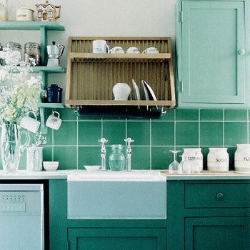 Kitchen Decorating Ideas, Green Paint Colors And Wall Tiles Part 92