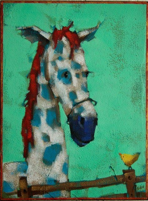 why the long face? - angie rees | The BIG Show of Little Paintings | The Artym Gallery