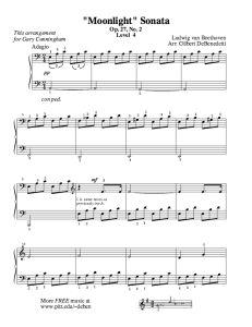 Moonlight Sonata   Free Sheet Music for Easy Piano - https://thepianostudent.wordpress.com/2009/07/12/free-sheet-music-moonlight-sonata-for-piano/