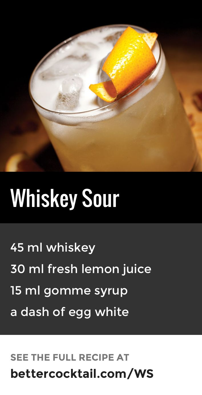 "The Whiskey Sour cocktail is a classic drink with a whiskey base. An unusual twist with this drink is the optional dash of egg white, however, can be substituted for pineapple juice if you do not like or cannot have eggs. This drink is served either in a cocktail glass or if served ""on the rocks"", then an old fashioned glass should be used instead. Traditionally a whiskey sour is garnished with half a slice of orange and a cocktail cherry."