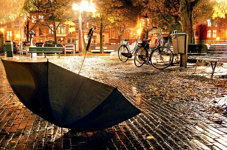 осень в городе, зонт