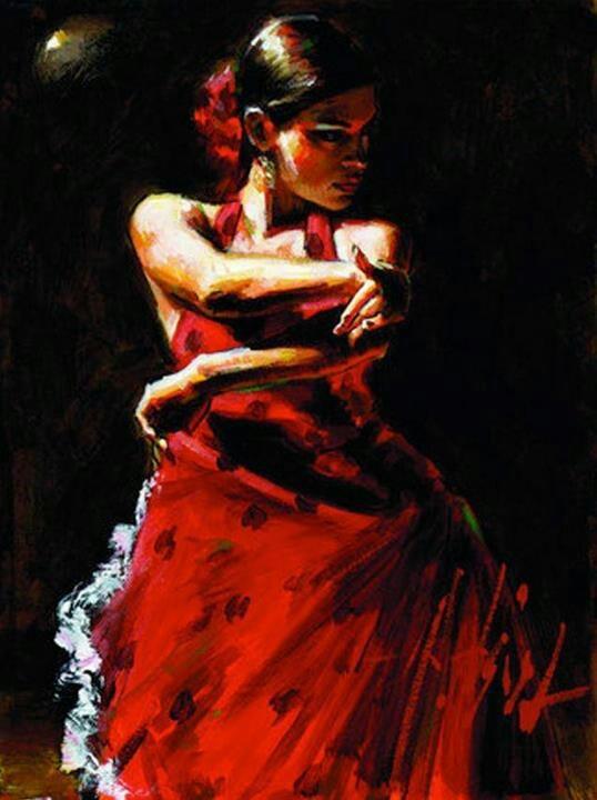 Fabian Perez ~ Flamenco Dancer. ...love the colors and shadows