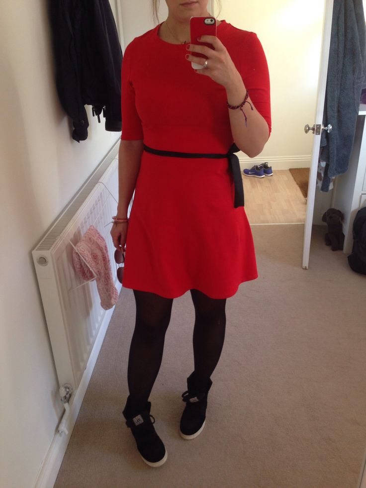 New Look Red Dress.  Black tights with gold zips up the back Black Ash trainer wedges.   Not sure it's suitable for a wedding but BAH!